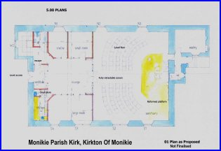 Click this image for a larger copy of the provisional plans of the proposed alterations to Monikie Kirk. (May NOT be up to date)